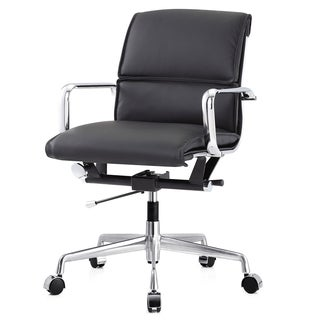 M330 Black Vegan-leather Office Chair with Chrome Base