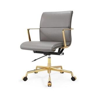 M347 Gold/Grey Italian Leather Swivel Office Chair