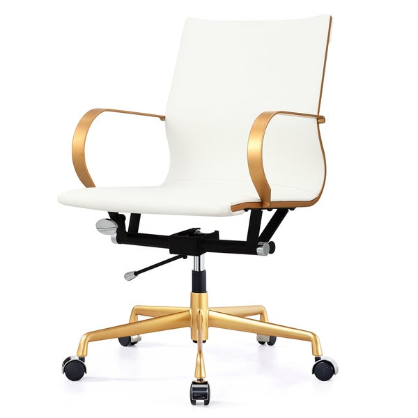 M360 Gold White Vegan Leather Office Chair Free Shipping