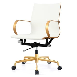 M360 Gold/White Vegan Leather Office Chair