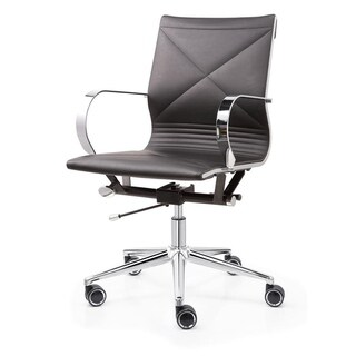 M365 Black Vegan Leather Office Chair with Chrome Frame