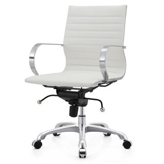 Contemporary White Vegan Leather Office Chair
