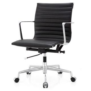 Black Aniline Leather Ergonomic Office Chair