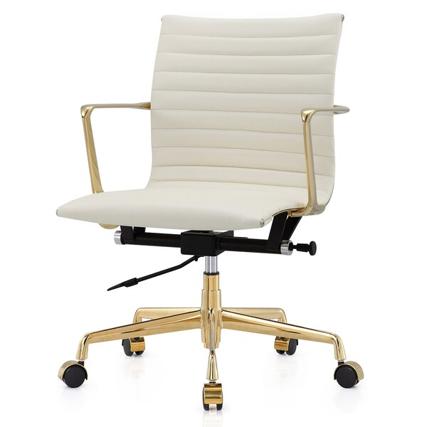 shop m5 gold white aniline leather office chair on sale ships to rh overstock ca IKEA Office Chair Mat Office Chair Norway