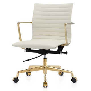 M5 Gold/White Aniline Leather Office Chair