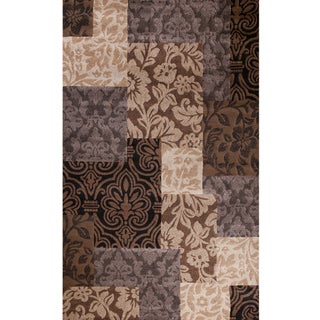 Impression Collection Jazz Brown Polypropylene Rug (6'7 x9'6 )