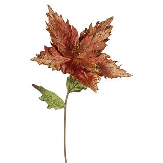 Copper 13-inch Poinsettia Flower With 26-inch Stem (Pack of 3)