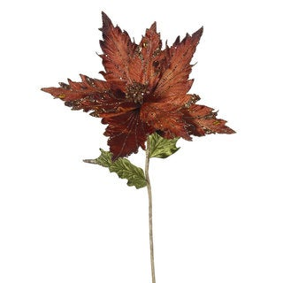 Chocolate Plastic 26-inch Poinsettia with 13-inch Flower (Pack of 3)