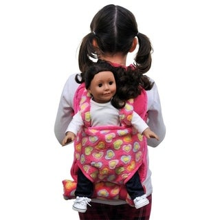 The Queen's Treasures Child's Pink Backpack With Carrier and Sleeping Bag for 15 and 18-inch Dolls