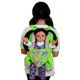 "The Queen's Treasures Green Child's Backpack with Doll Carrier & Doll Sleeping Bag, fits 15 & 18"" Doll Accessories