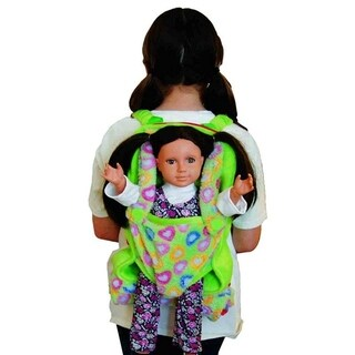"The Queen's Treasures Green Child's Backpack with Doll Carrier & Doll Sleeping Bag, fits 15 & 18"" Doll Accessories (Option: Green)"