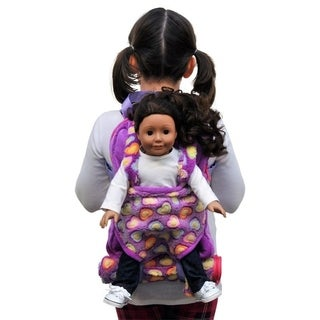 """The Queen's Treasures Purple Child's Backpack with Doll Carrier & Doll Sleeping Bag, fits 15 & 18"""" Doll Accessories"""