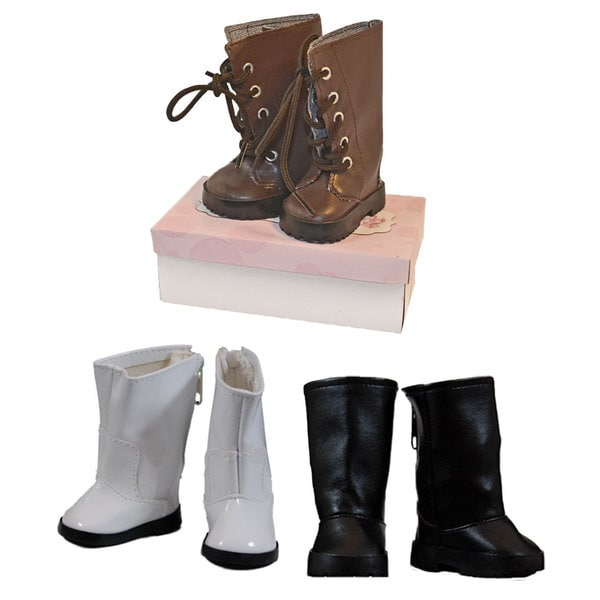 "The Queen's Treasures Brown Lace Up Boot, White Go-Go Boots, & Black Riding Boots, Boot Accessory Set Fits 18"" Girl Dolls"