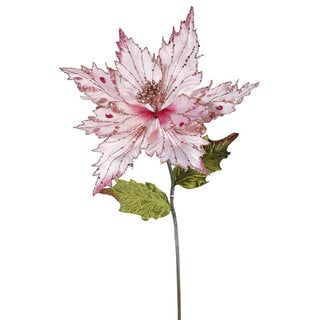 26-inch Pink Poinsettia With 13-inch Flower (Pack of 3)