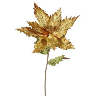 Vickerman Goldtone 26-inch Poinsettia With 13-inch Flower (Pack of 3)