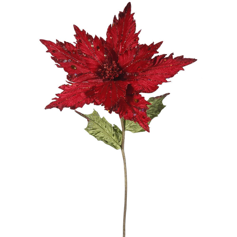 Vickerman Christmas Red 26-inch Poinsettia with 13-inch F...