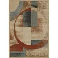 Contours Collection Graphic Multi Polypropylene Rug - 6'7 x 9'6