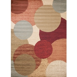 Contours Collection Spherical Multi Polypropylene Rug (6'7 x9'6 )