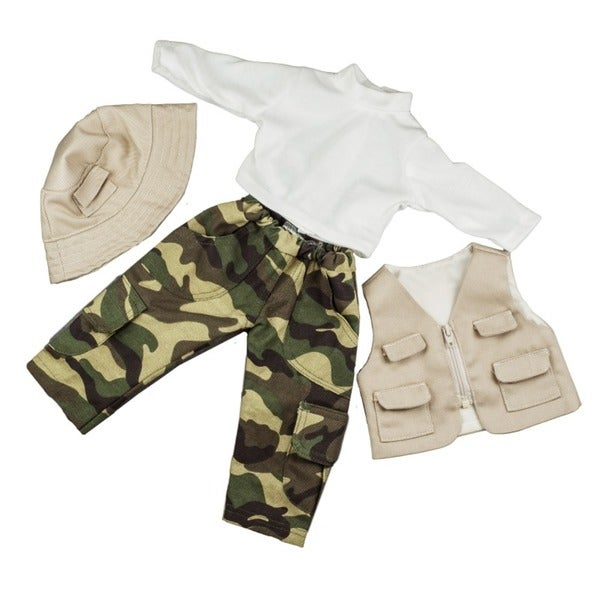 """The Queen's Treasures Fishing Adventure Pants, Shirt, Vest & Hat Doll Clothing Outfit, Clothes & Accessories for 18"""" Girl Dolls"""