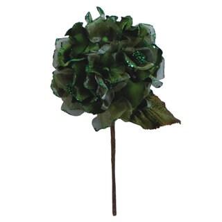 Lime 7-inch Velvet Hydrangea Flower With 29-inch Stem