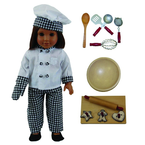 """The Queen's Treasures Complete Chef Doll Clothing Outfit & 11pc Kitchen Tool Accessory Set for 18"""" Dolls"""