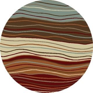 Chelsea Collection Ripples Multicolor Polypropylene Rug (5'3 x 5'3)