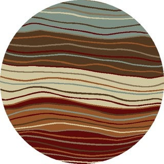 Chelsea Collection Ripples Multi Polypropylene Rug (7'10x 7'10)