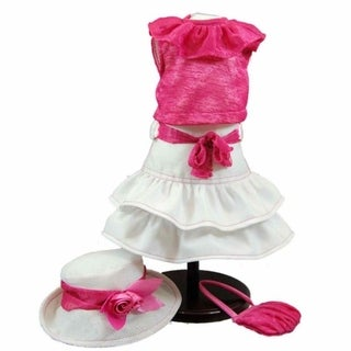 "The Queen's Treasures Pink & White Skirt, Shirt, Hat and Handbag Doll Clothing Outfit, Clothes & Accessories for 18"" Girl Dolls"