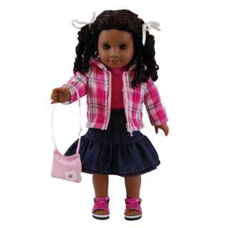 The Queen's Treasures Plaid Jacket, Denim Skirt, Pink Tee and Handbag Doll Clothing/Accessories Set for 18-inch Girl Dolls