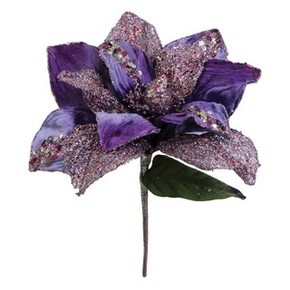 Vickerman Purple Glitter Polyester 31-inch Magnolia with 13-inch Flower
