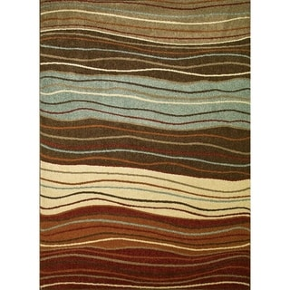 Chelsea Collection Ripples Multi Polypropylene Rug (6'7 x9'3 )