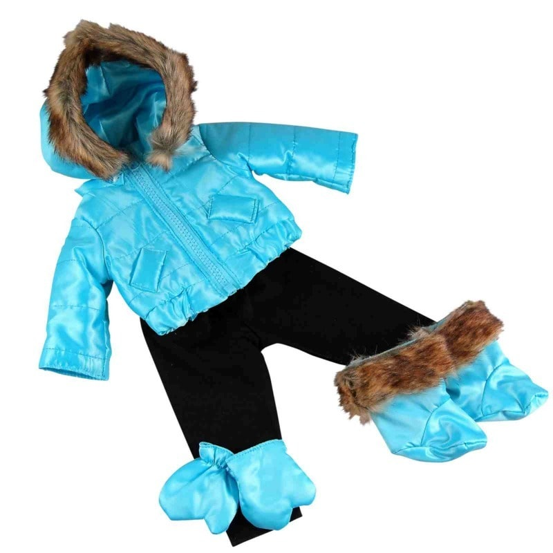 The Queen's Treasures 18 Inch Ski Wear Doll Clothes Outfit, 6 Pc Zippered Jacket, Pants, Gloves, Boots
