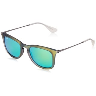 Ray-Ban Men's 0RB4221 Square Sunglasses, Shot Green Rubber Light Green Mirror & Green, 50MM