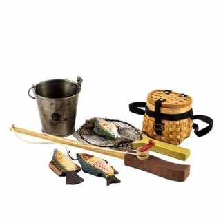 "The Queen's Treasures Great Outdoors Fishing Adventure Accessory Set for 18"" Dolls, Pole, Fish, Creel, Bucket, Net"