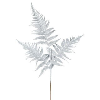 22-inch Silver Glitter Fern Spray (Pack of 6)