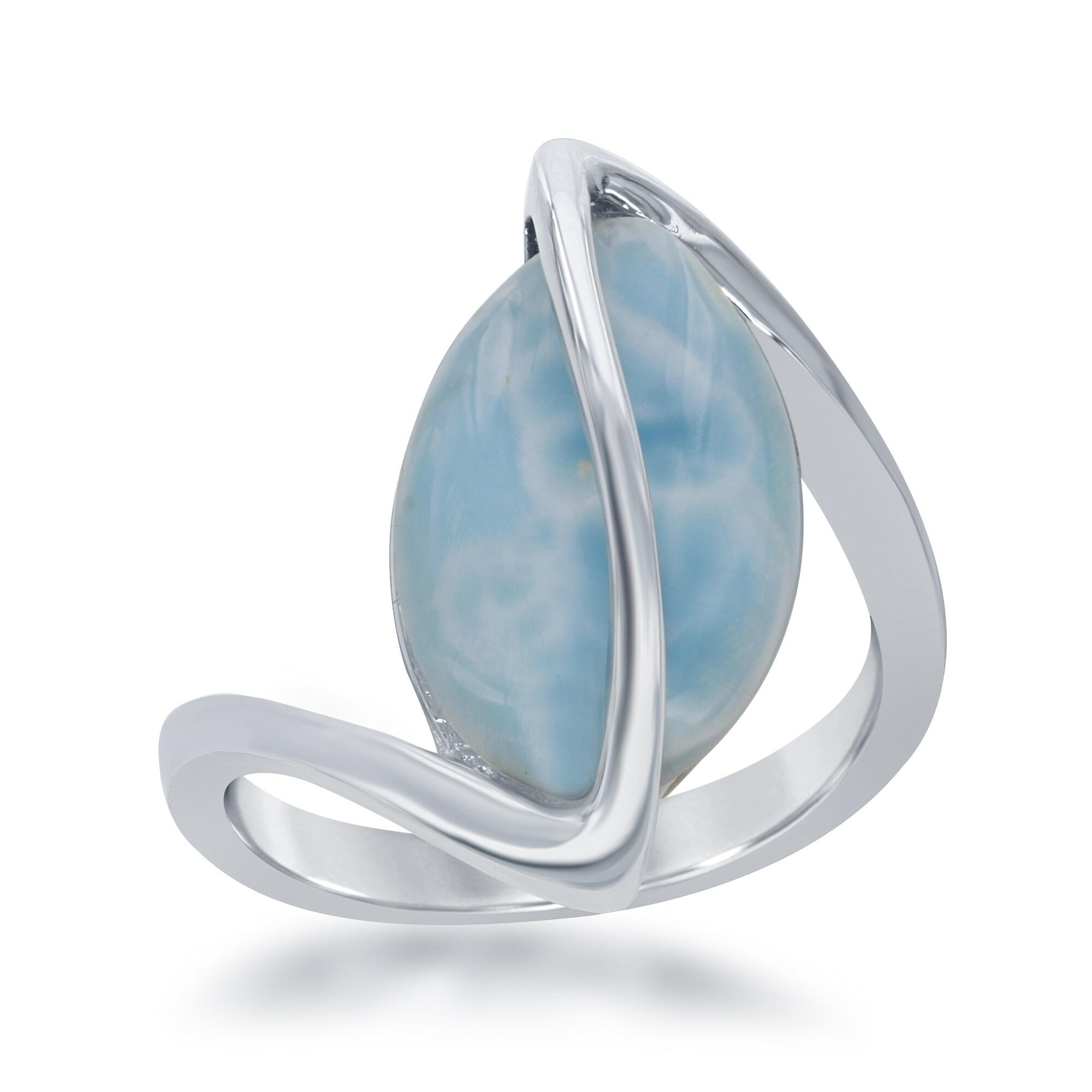 La Preciosa Sterling Silver Marquise Larimar Twisted Ring...