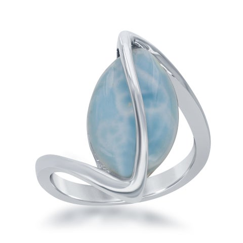 La Preciosa Sterling Silver Marquise Larimar Twisted Ring