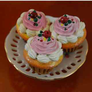 "The Queen's Treasures Set of 3 Cupcake and Pink Rose Fine China Cake Plate, Food and Dish Accessory for 18"" Dolls"