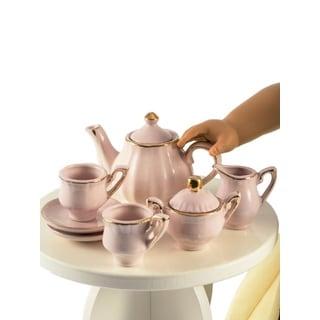 The Queen's Treasures Princess Pink Fine China Service for Two Tea/Kitchen Dish Accessory 18-inch Doll Set