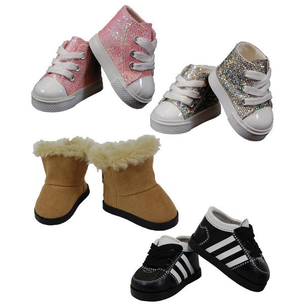 """The Queen's Treasures Doll Shoe Set, Pink and Silver High Top Sneakers, Soccer Sneakers, Sherpa Style Boots, Fits 18"""" Doll"""