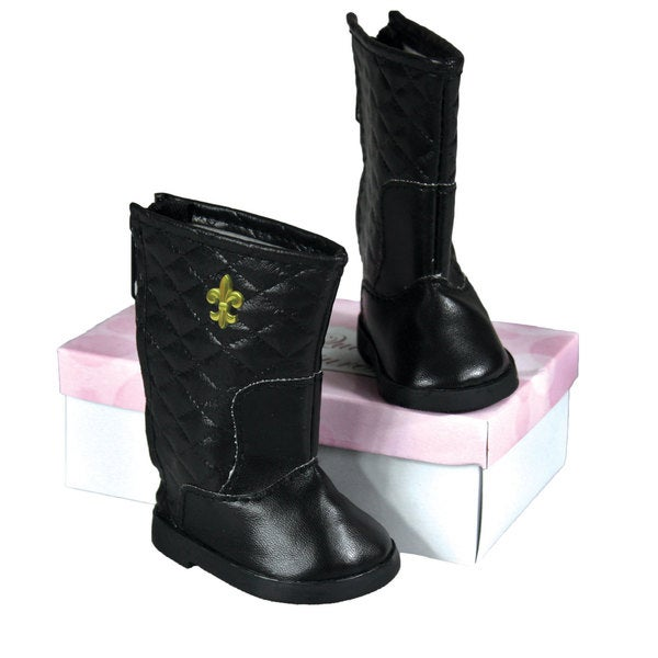 """The Queen's Treasures Black Quilted Boot for 18"""" Doll Girl"""
