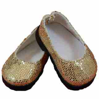 The Queen's Treasures Gold Glitter Slip-on Shoes For Use with 18-inch Dolls and Doll Clothing