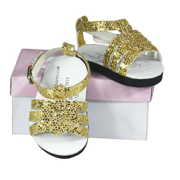 """The Queen's Treasures Gold Strappy Sandal fits 18"""" Girl Dolls"""