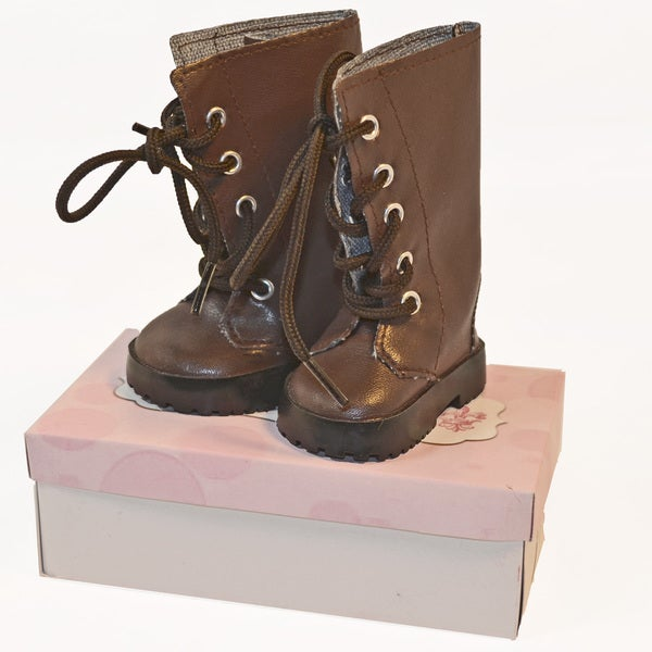 """The Queen's Treasures Brown Lace Up Shoe Boots for Use With 18"""" Dolls and Doll Clothing"""