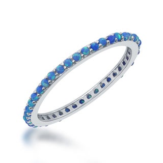 La Preciosa Blue Opal Sterling Silver Eternity Band