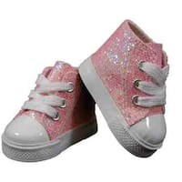 "The Queen's Treasures Pink Sparkle High Top Sneaker Shoes for Use With 18"" Dolls and Doll Clothing"