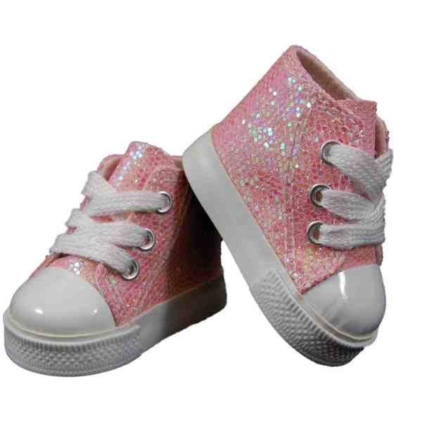 """The Queen's Treasures Pink Sparkle High Top Sneaker Shoes for Use With 18"""" Dolls and Doll Clothing"""