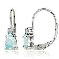 Glitzy Rocks Sterling Silver Created Opal White Topaz Teardrop Leverback Earrings