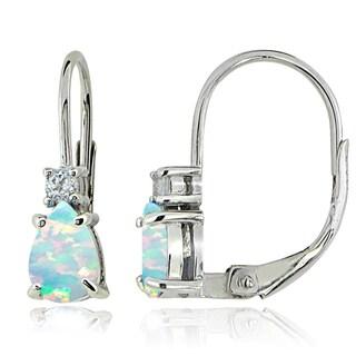 Glitzy Rocks Sterling Silver Created Opal & White Topaz Teardrop Leverback Earrings