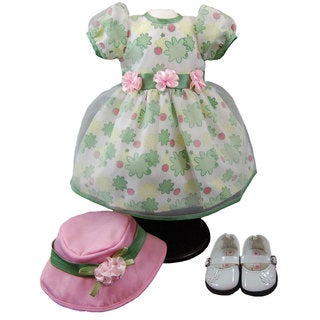 The Queen's Treasures Pretty Floral Dress and White Mary Jane Shoes, Doll Clothes, and Accessories for 18-inch Girl Dolls